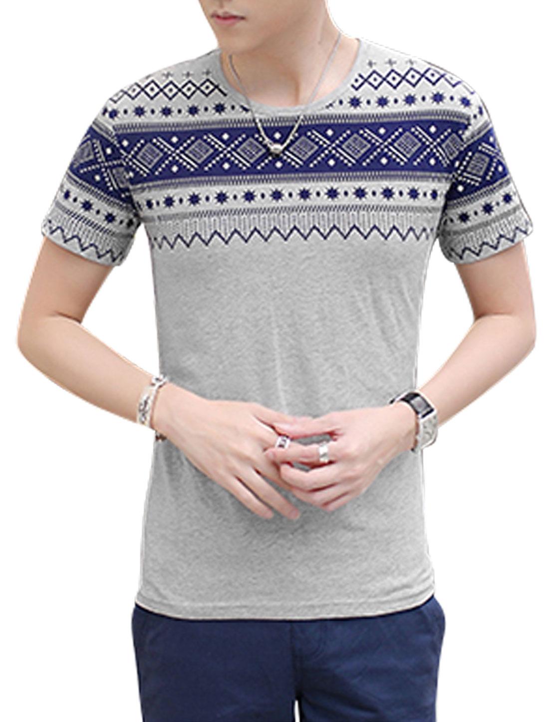 Man Short Sleeves Geometric Prints Slipover T-Shirts Gray M