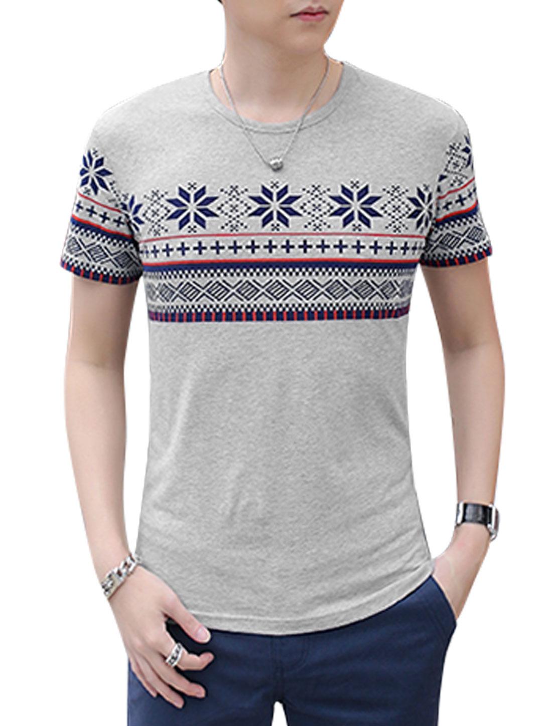 Men Short Sleeves Geometric Prints T-Shirts Gray M