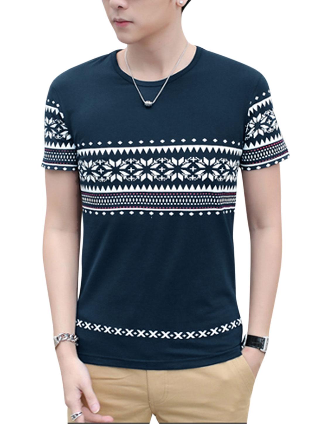Men Geometric Snowflake Print Short Sleeve Casual T Shirts Navy Blue M