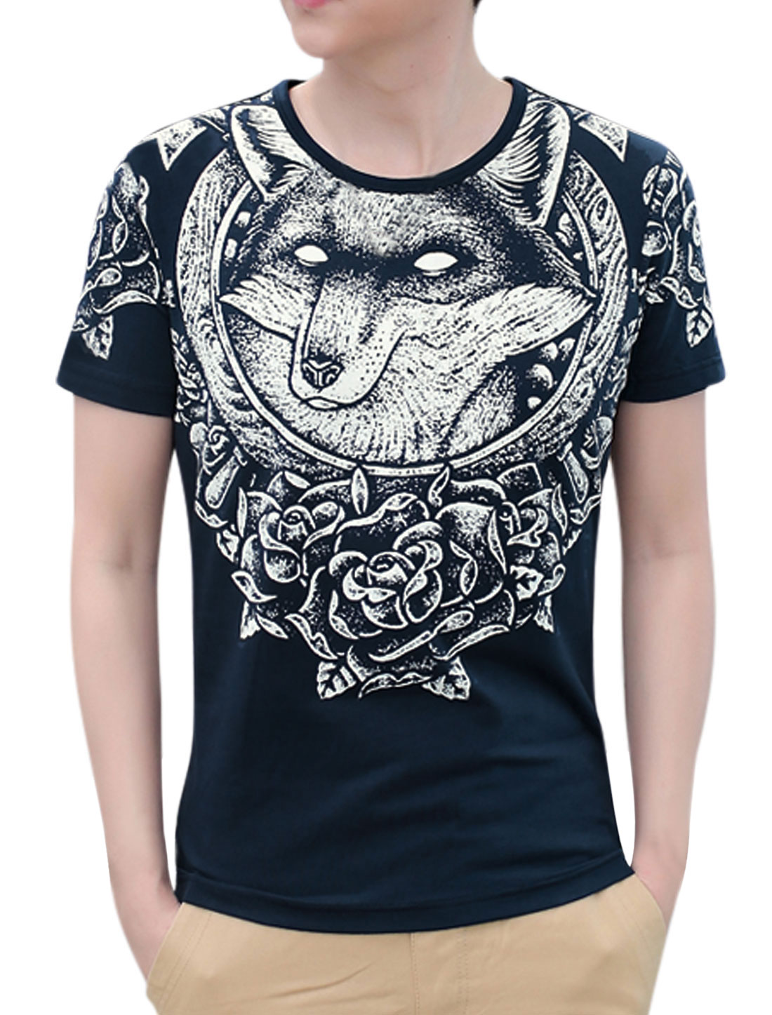Men Round Neck Short Sleeves Wolf Prints Casual T-Shirts Navy Blue M