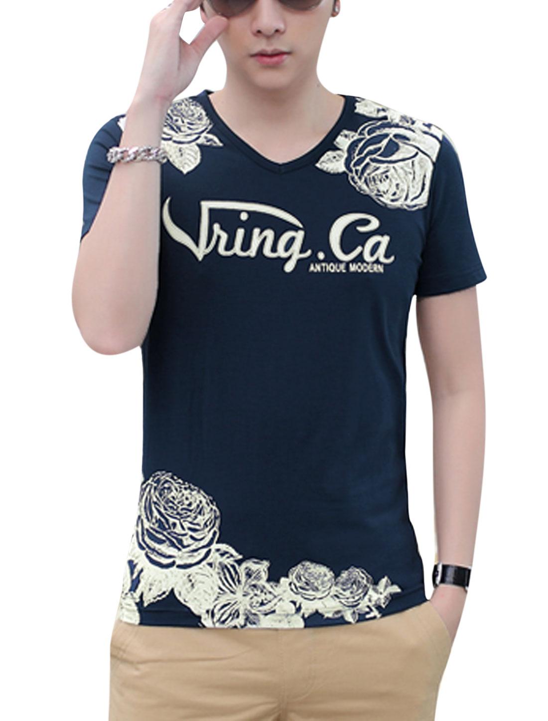 Man Floral Letters Prints V Neck Short Sleeves Casual T-shirt Dark Blue M