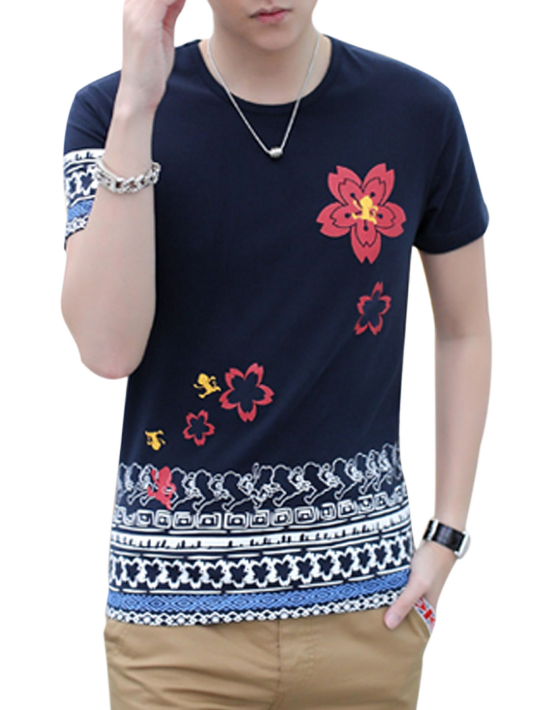 Men Novelty Floral Print Short Sleeve Round Neck Casual T-Shirt Navy Blue M