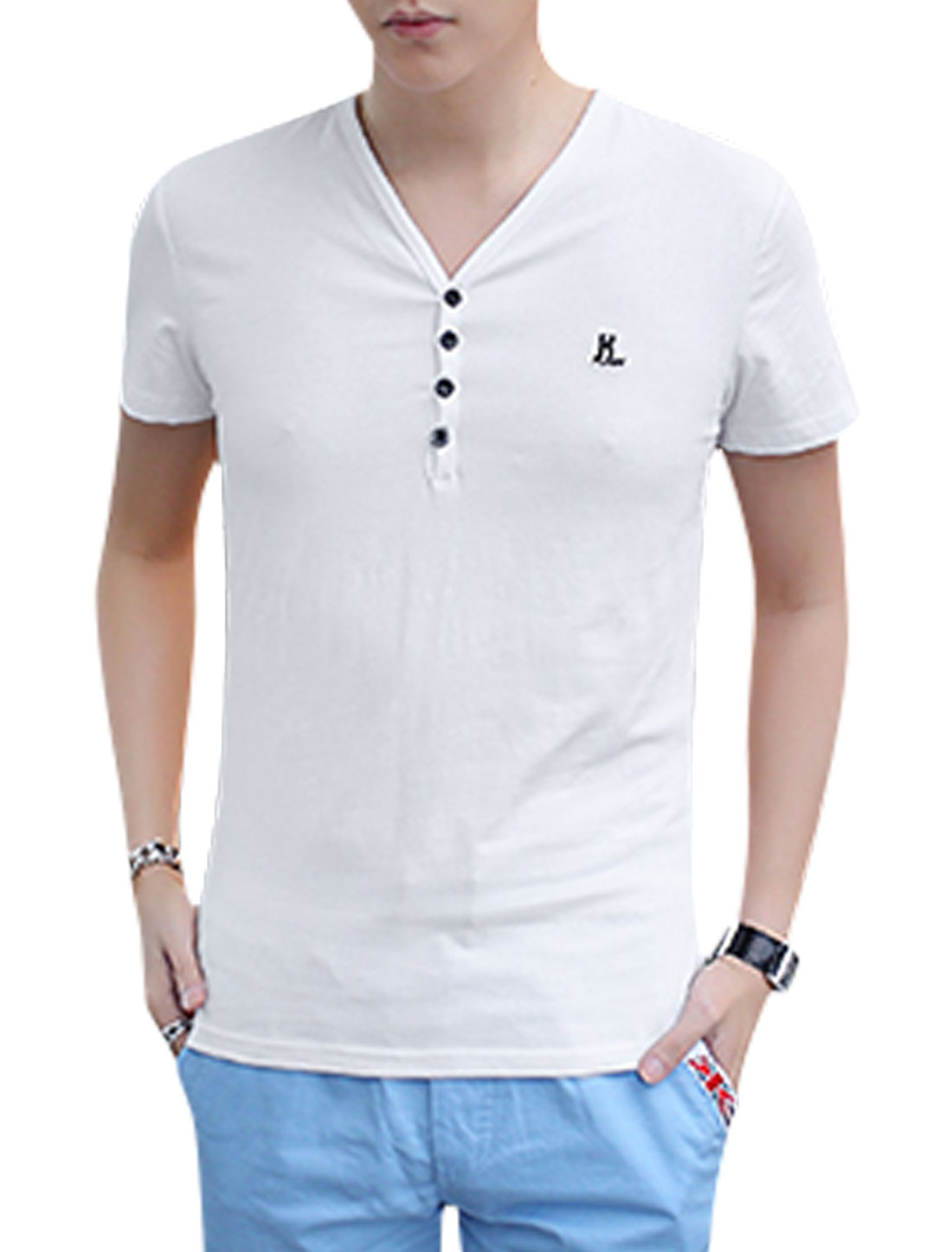 Men Short Sleeve V Neck 1/4 Placket Stretchy Casual T Shirt White M