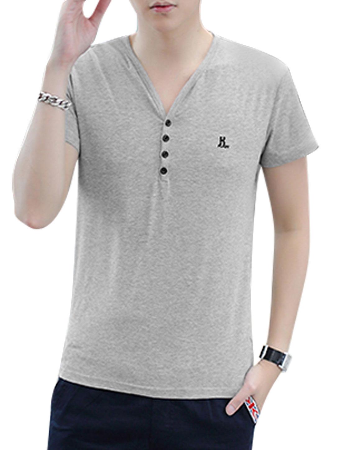 Men Short Sleeve V Neck Casual T-Shirt Light Gray M