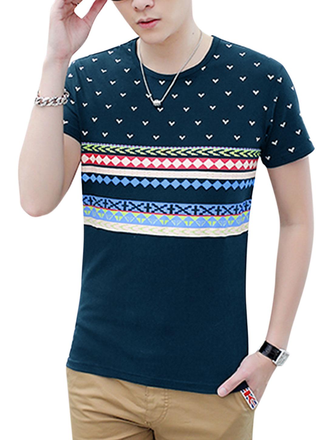 Men Short Sleeve Geometric Novelty Prints Slim Fit T-Shirt Navy Blue M
