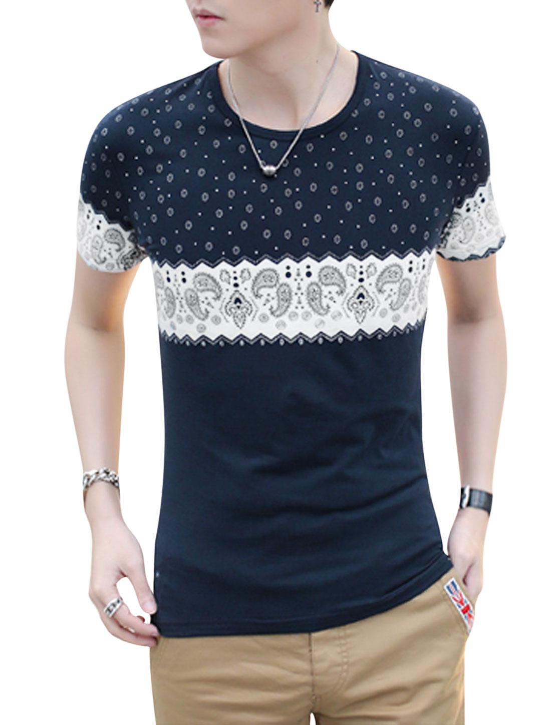 Men Short Sleeve Round Neck Novelty Paisleys Print Casual T-Shirt Navy Blue M