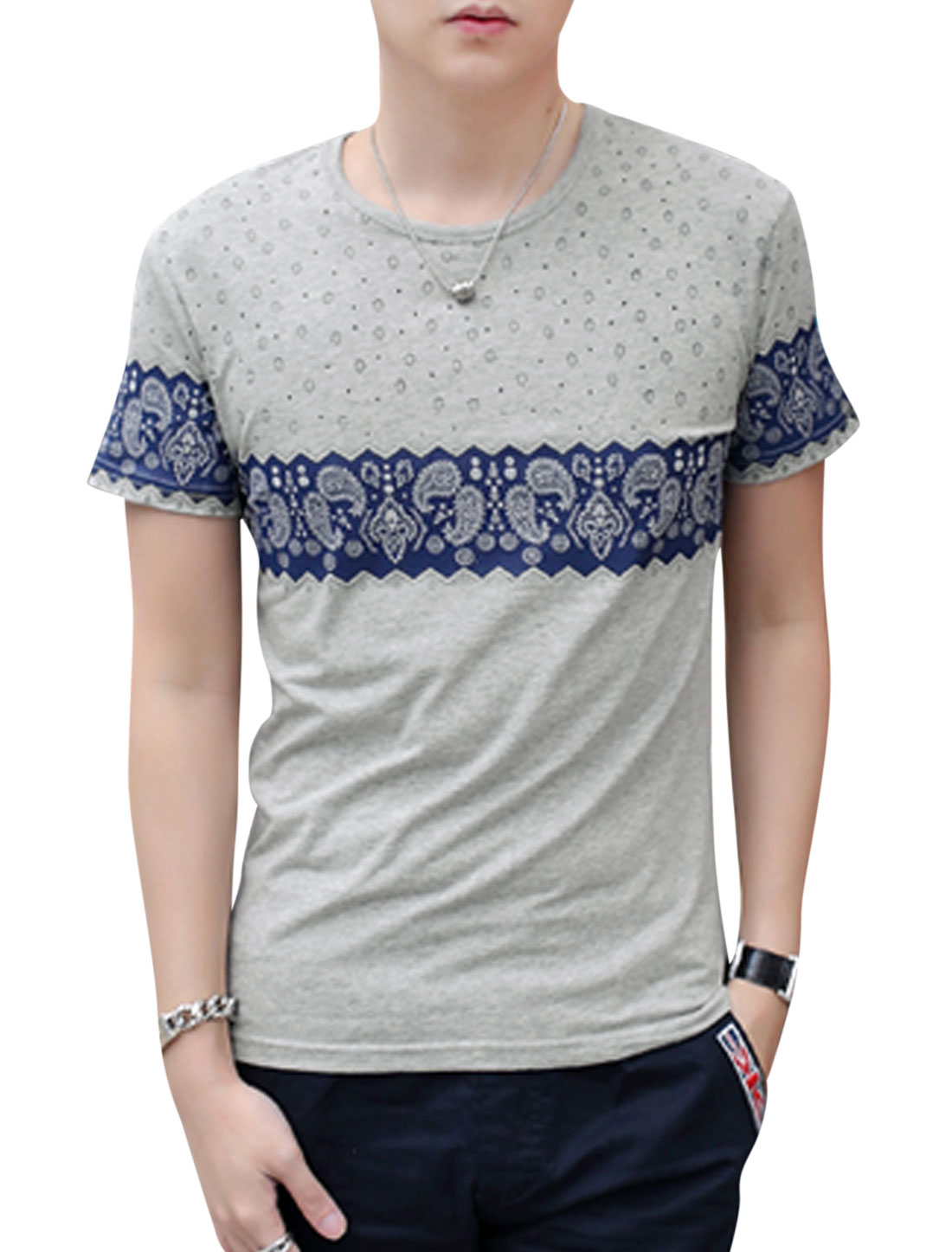 Men Short Sleeve Novelty Paisleys Print T-Shirts Gray M