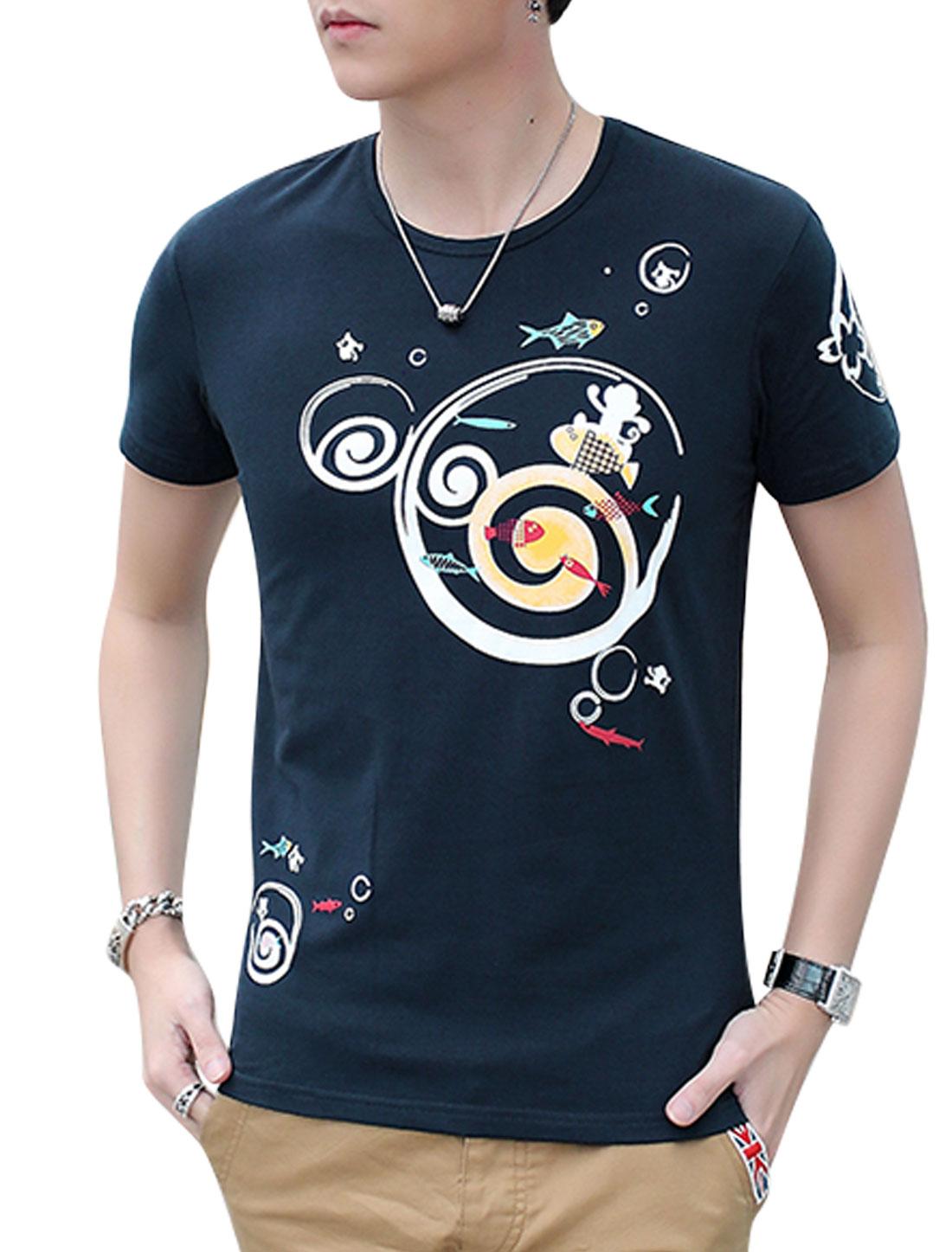 Men Round Neck Animal Novelty Print T Shirts Navy Blue M