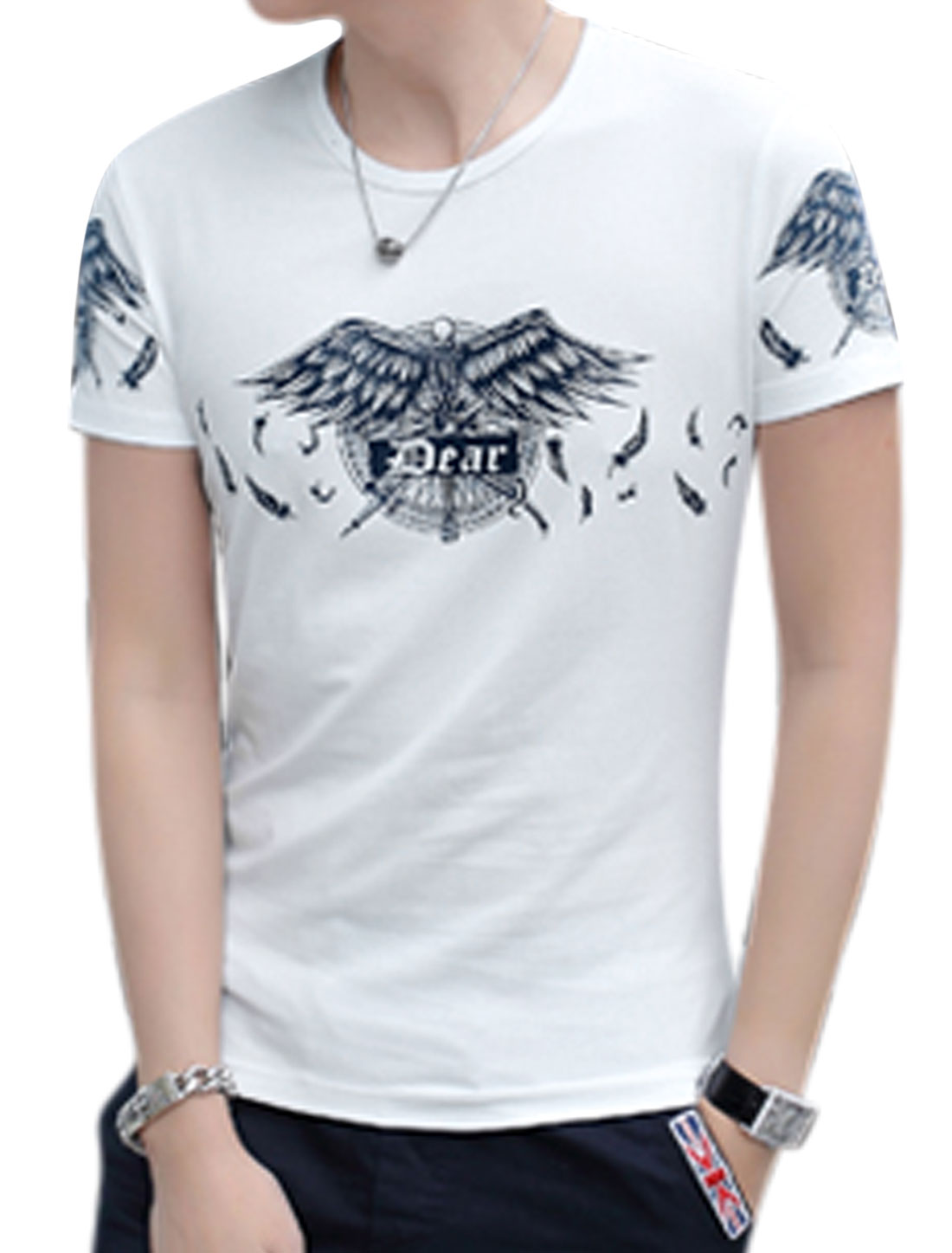 Men Short Sleeves Feathers Skull Prints T-Shirts White M
