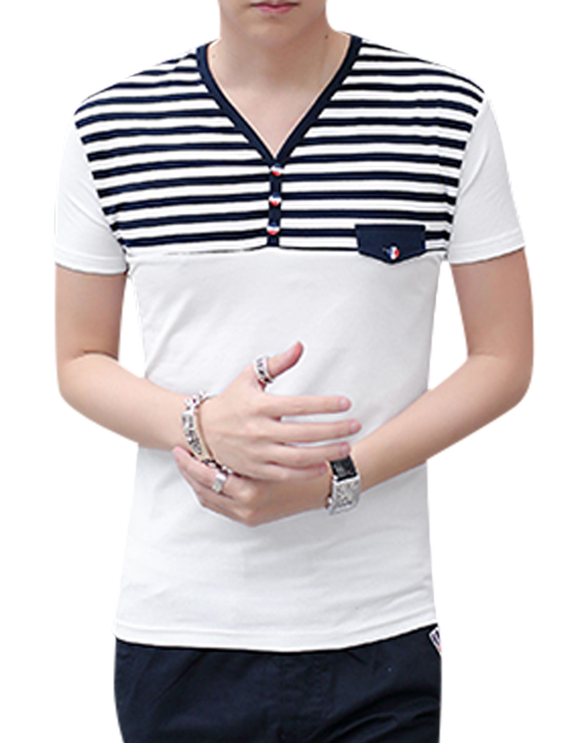 Men V Neck Horizontal Stripes Short Sleeves T-Shirts White Navy Blue M
