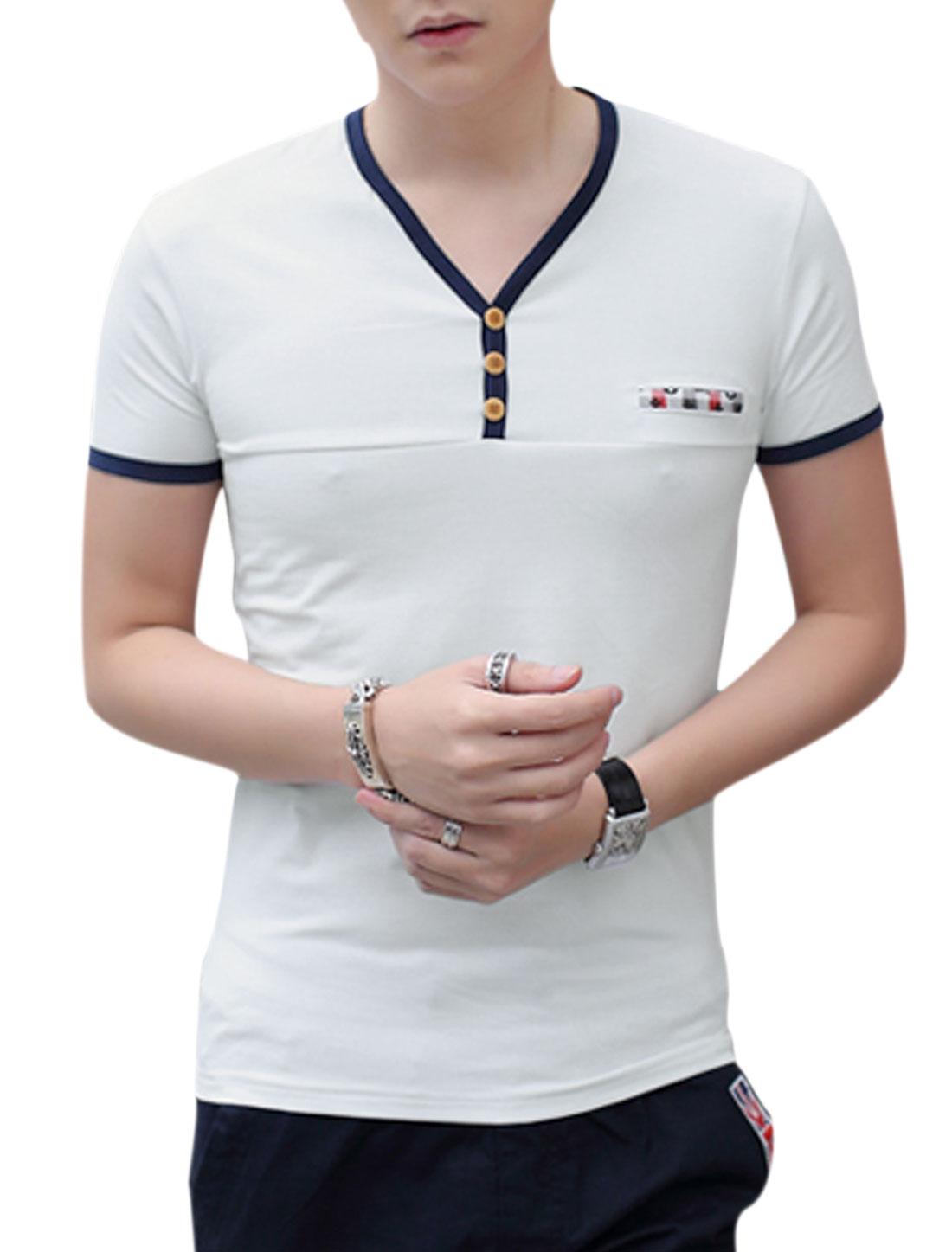 Men Short Sleeve V Neck Slim Fit Casual T-Shirt White M