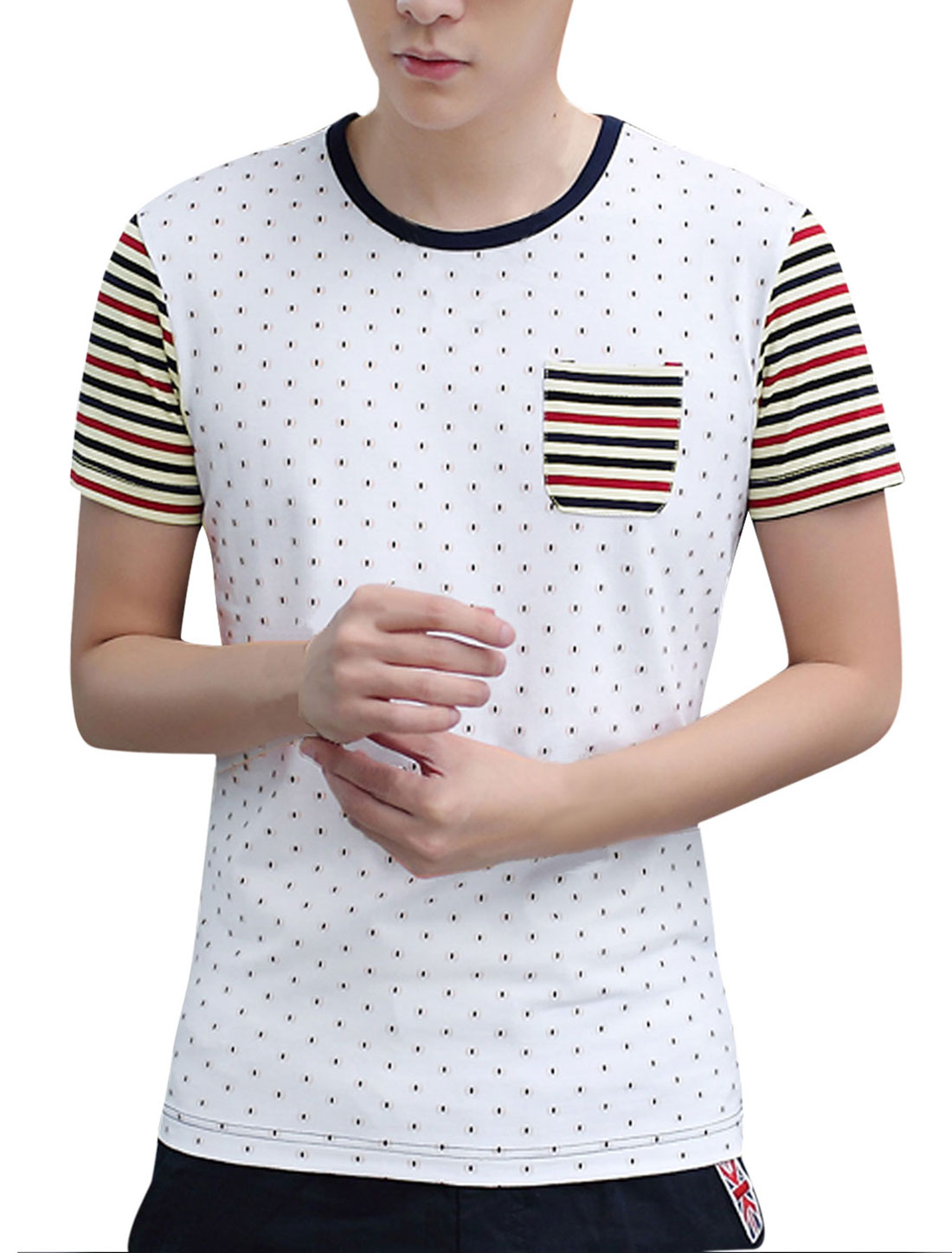 Man Stripes Novelty Prints Contrast Color Round Neck Casual Tee White M
