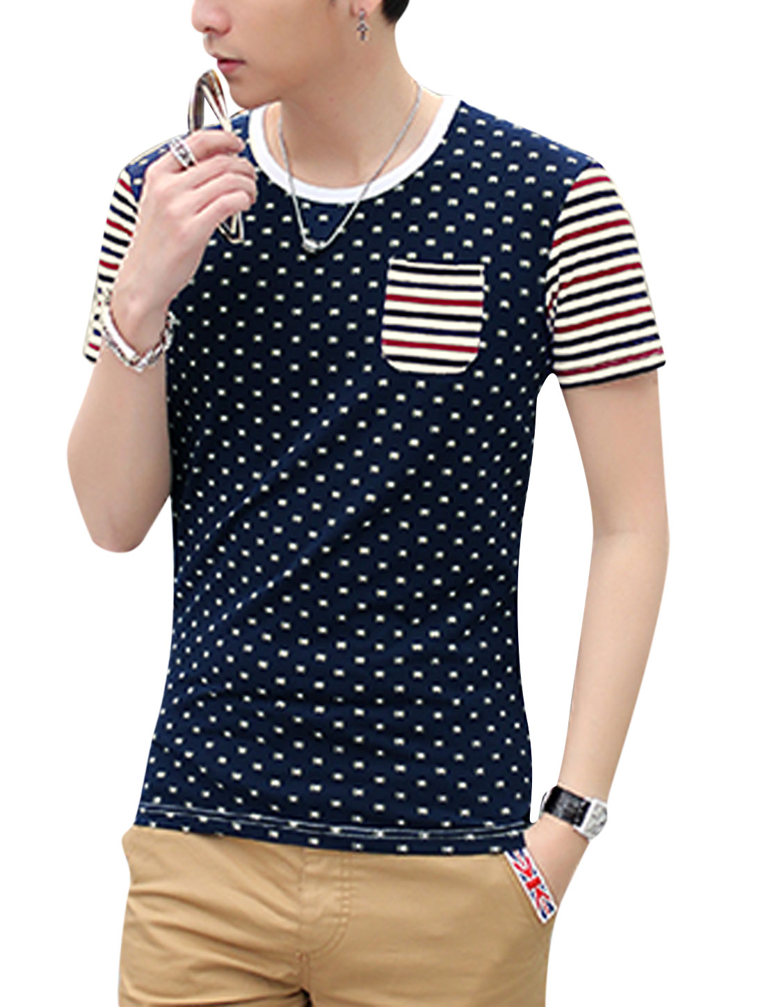 Man Stripes Novelty Prints Contrast Color Short Sleeves Casual Tee Navy Blue M