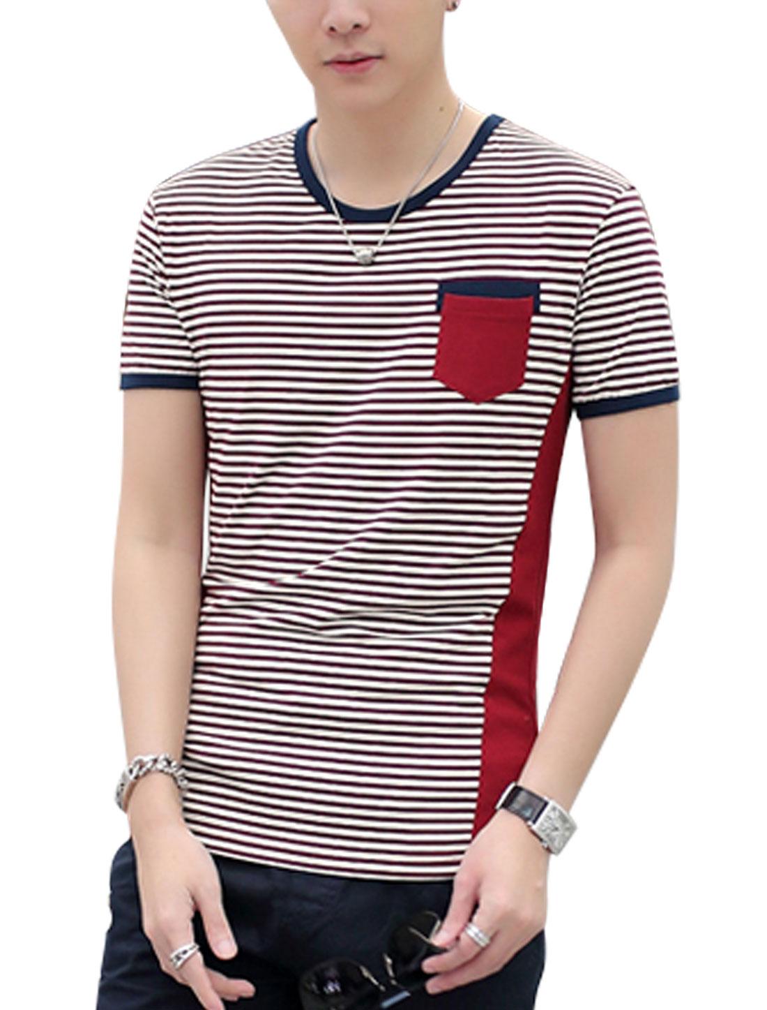 Man Stripes Round Neck Short Sleeves Chest Pocket Piped Tee Burgundy Beige M
