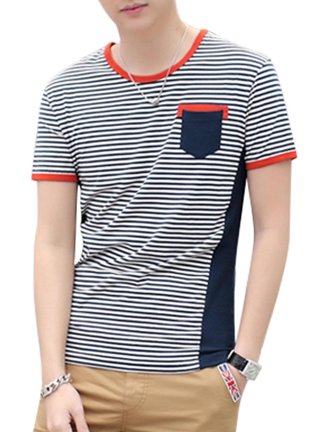Man Stripes Round Neck One Chest Pocket Casual Tee Navy Blue Beige M