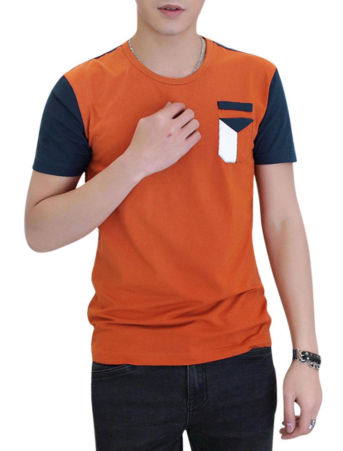 Men Short Sleeve Round Neck Contrast Color Pocket Casual T Shirt Orange M