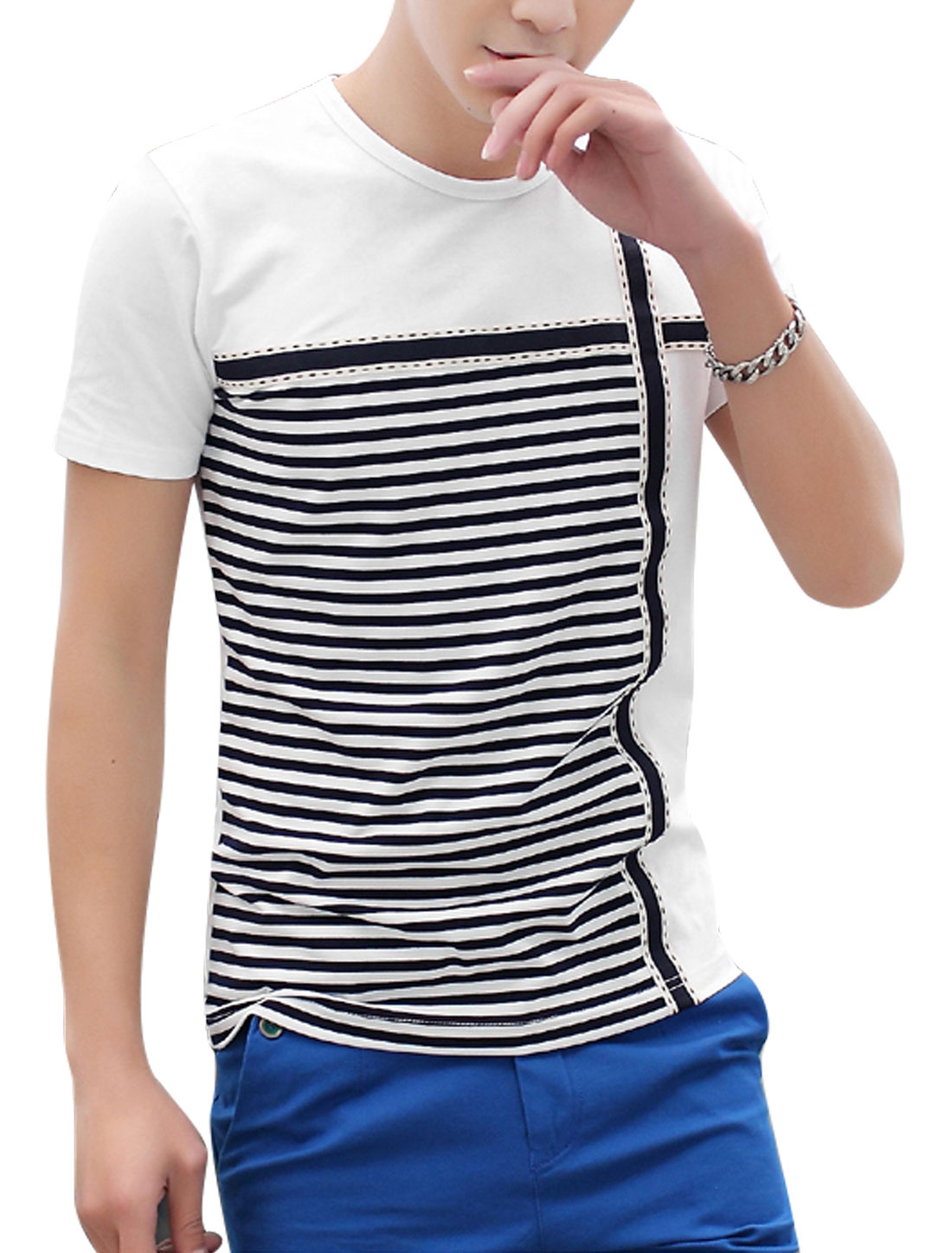 Men Round Neck Short Sleeves Bar Striped T-Shirts White M
