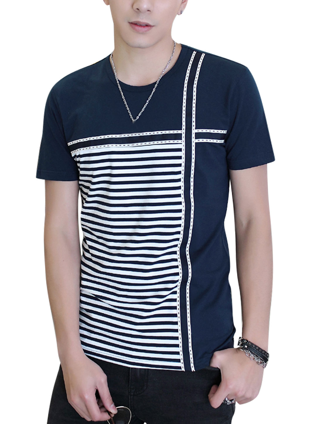 Man Short Sleeves Stripes Panel Design T-Shirts Navy Blue M