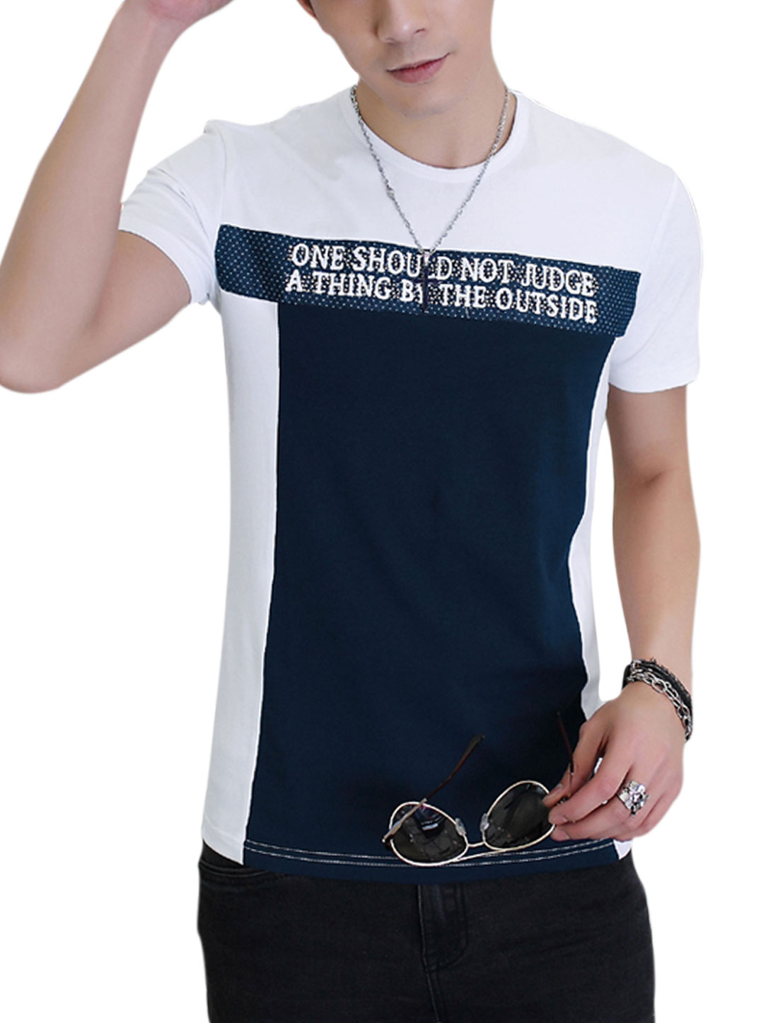 Men Short Sleeve Round Neck Color Block Casual T-Shirt White Navy Blue M