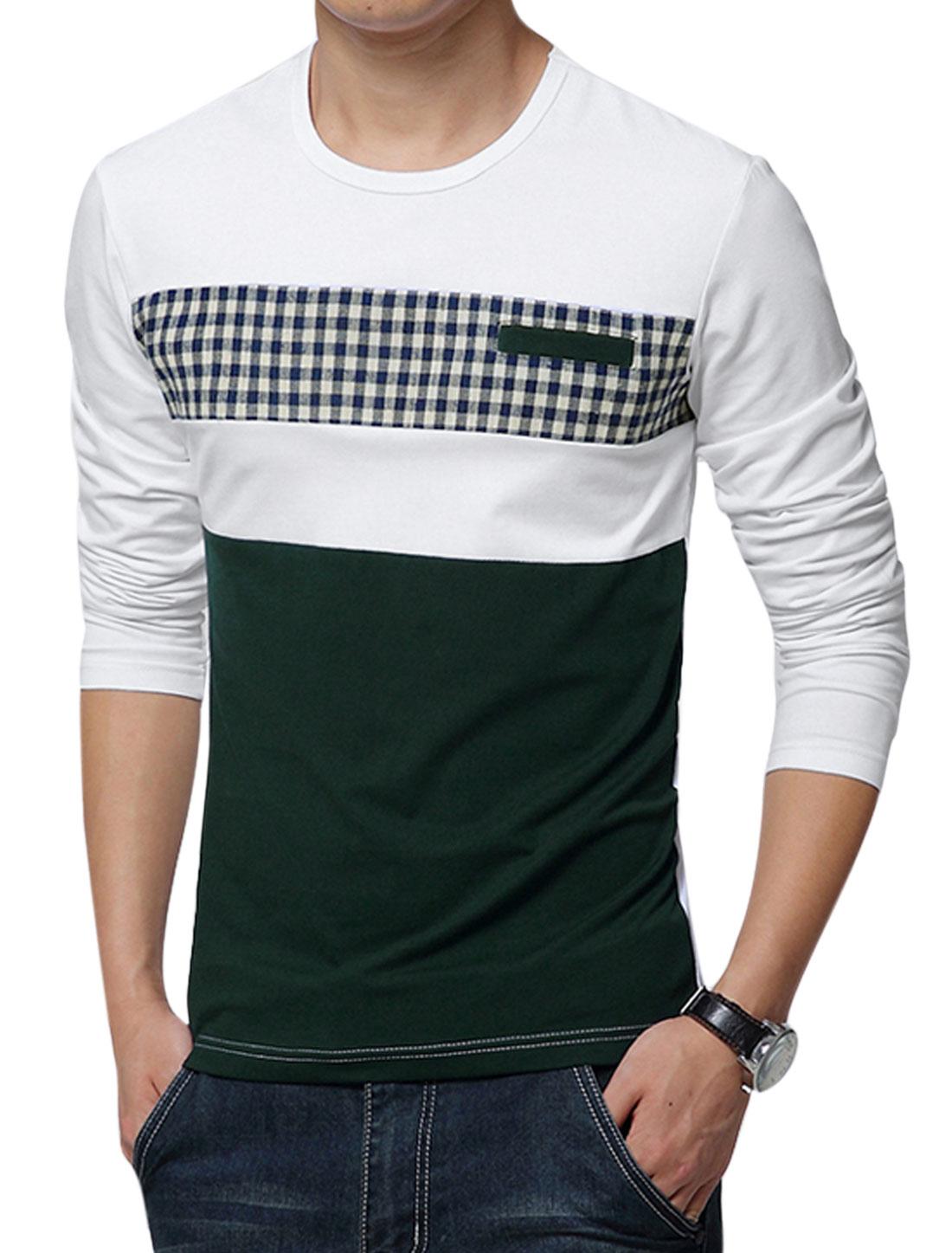 Men Plaids Print Contrast Color Slim Fit T-Shirt White Dark Green M