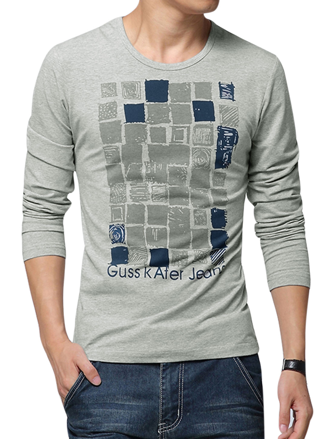 Men Long Sleeve Round Neck Geometric Print Casual T-Shirt Gray M