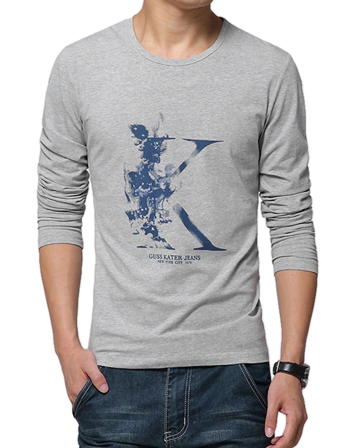 Man Long Sleeves Alphabet Prints Slipover T-Shirts Gray M