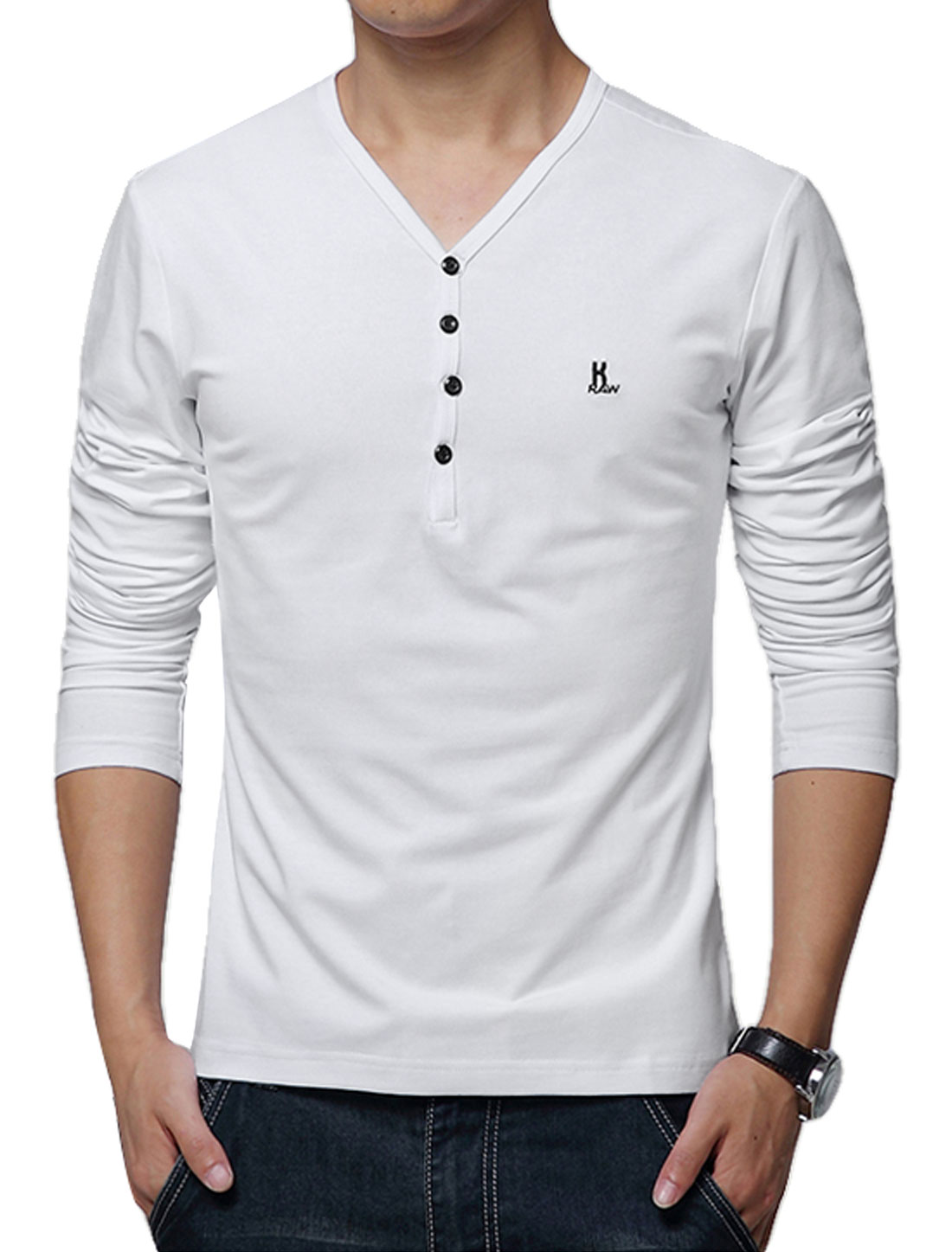Men V Neck Long Sleeves Buttons Decor Casual T-Shirts White M
