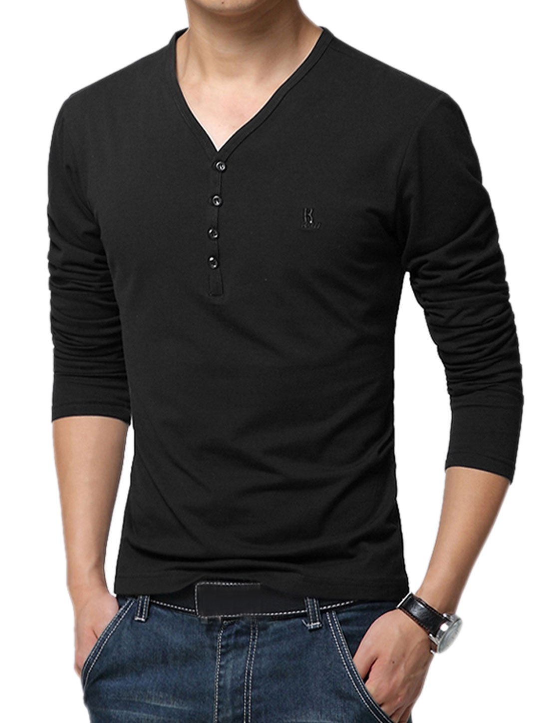 Men V Neckline Long Sleeves Buttons Decor T-Shirts Black M