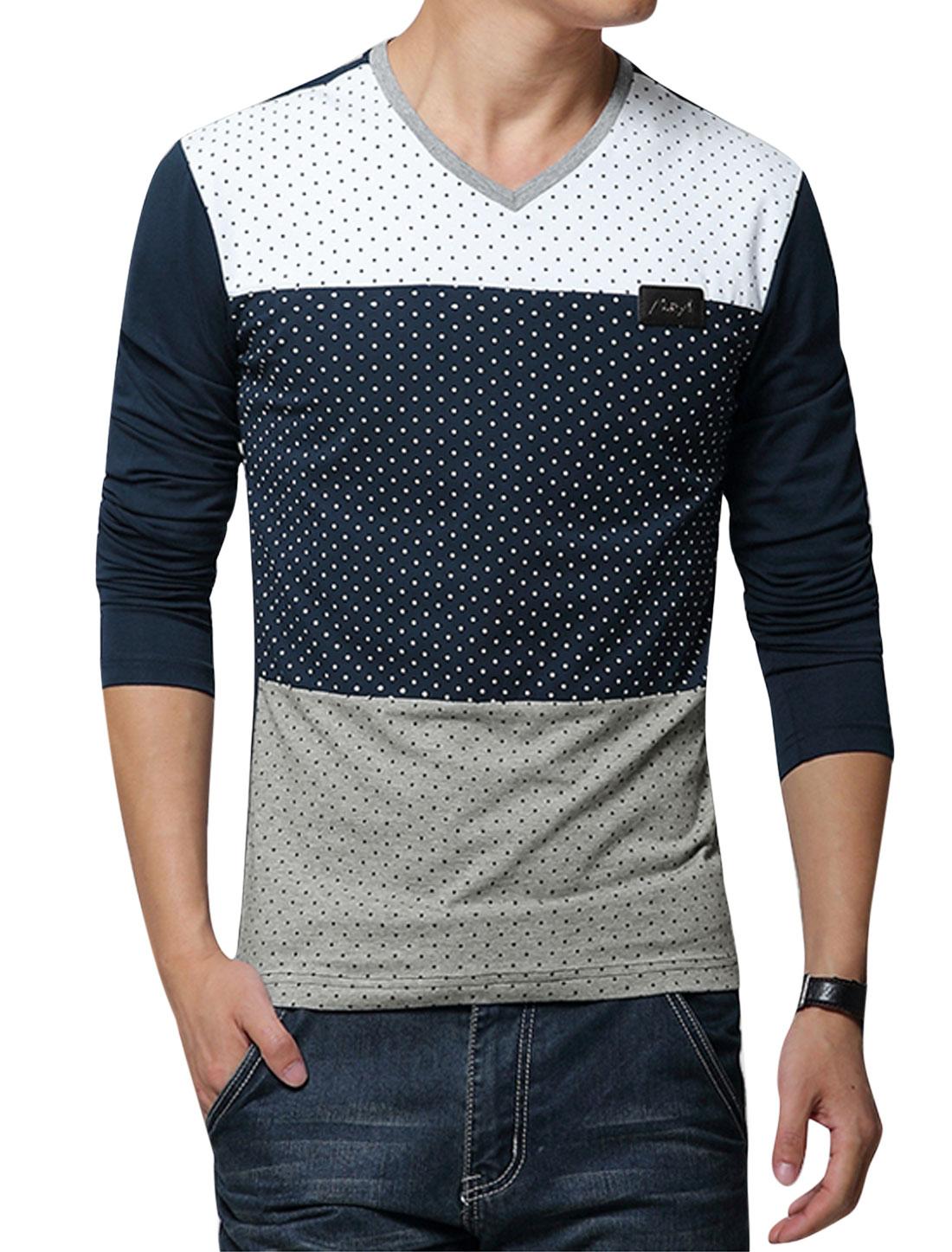 Men Long Sleeve Dots Print Contrast Color T Shirt Navy Blue White M