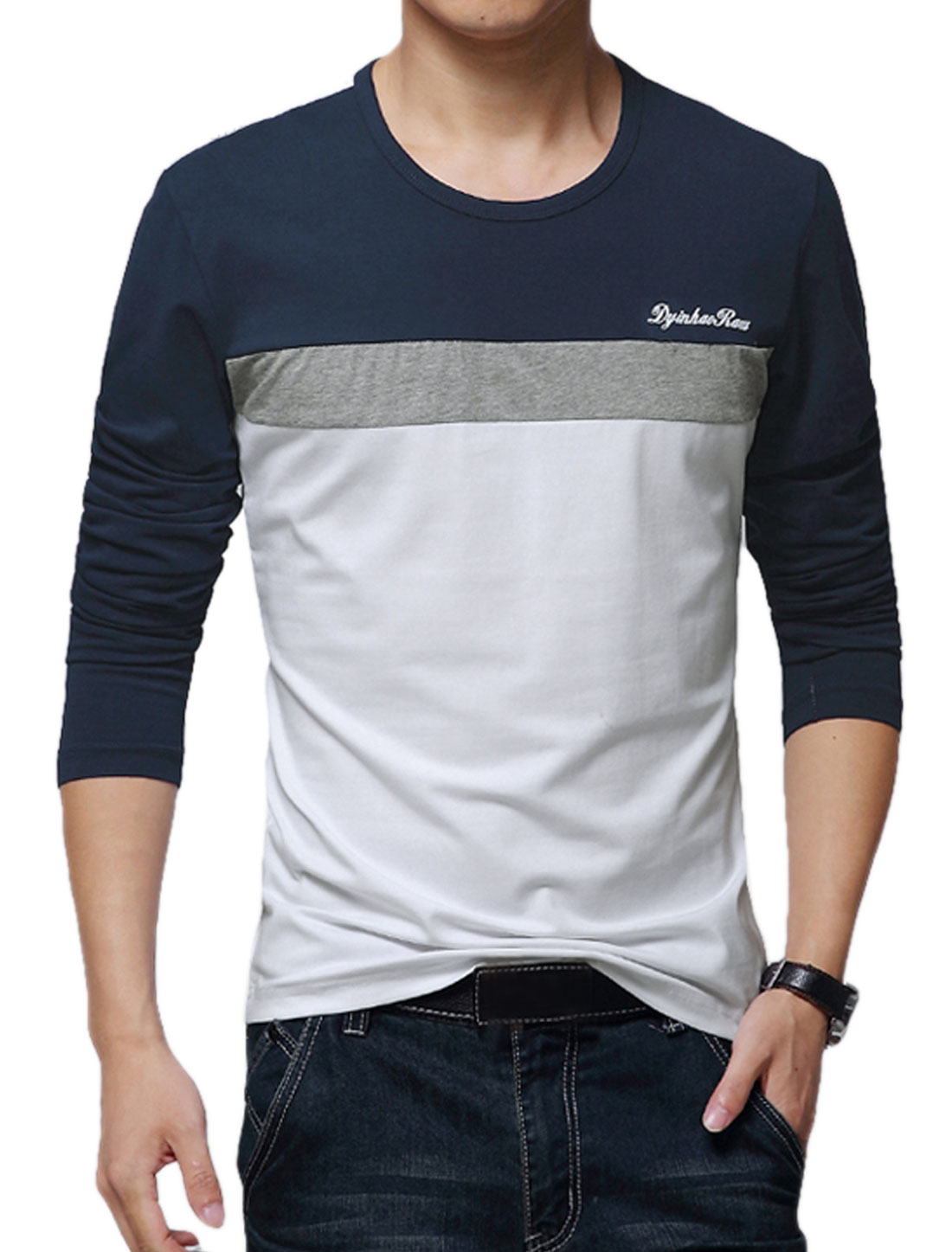 Men Round Neck Long Sleeves Color Blocked T-Shirts Navy Blue White M