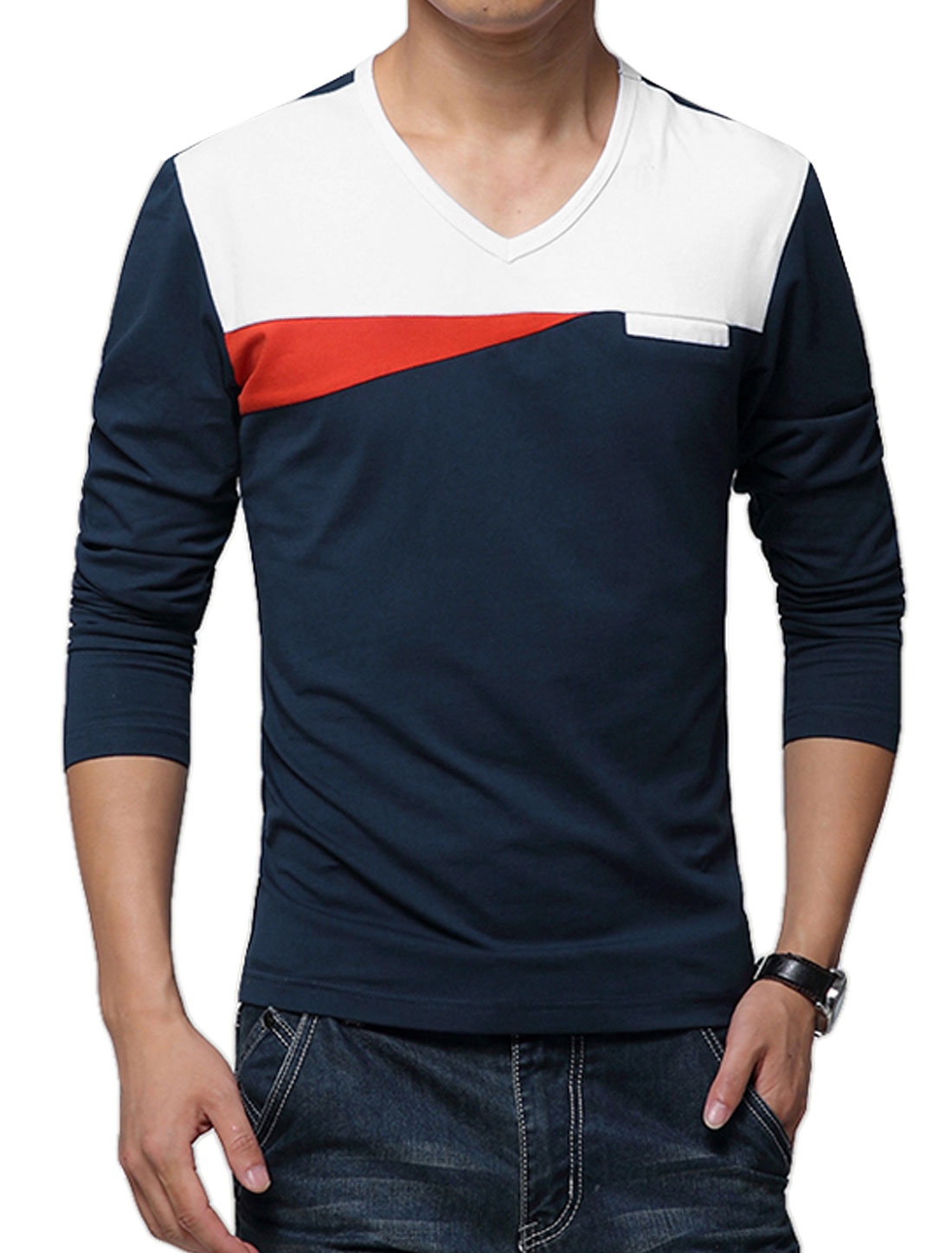 Men V Neck Long Sleeves Color Block Leisure T-Shirts Navy Blue White M