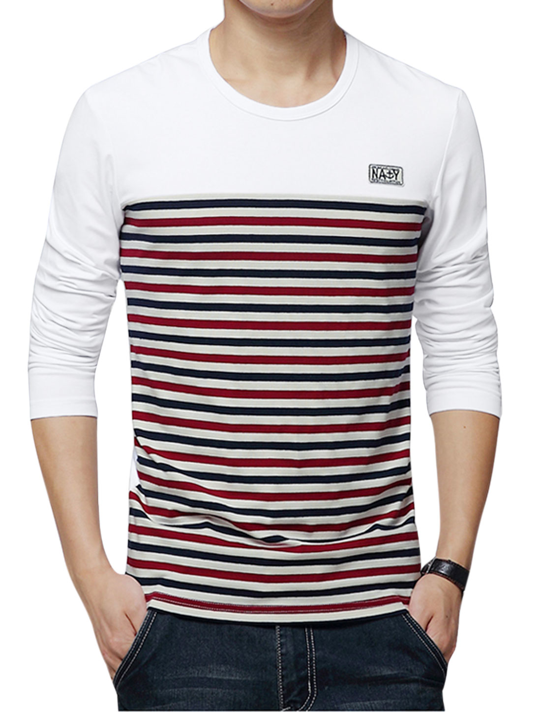 Men Long Sleeve Round Neck Stripes Print Slim Fit T-Shirts White Burgundy M