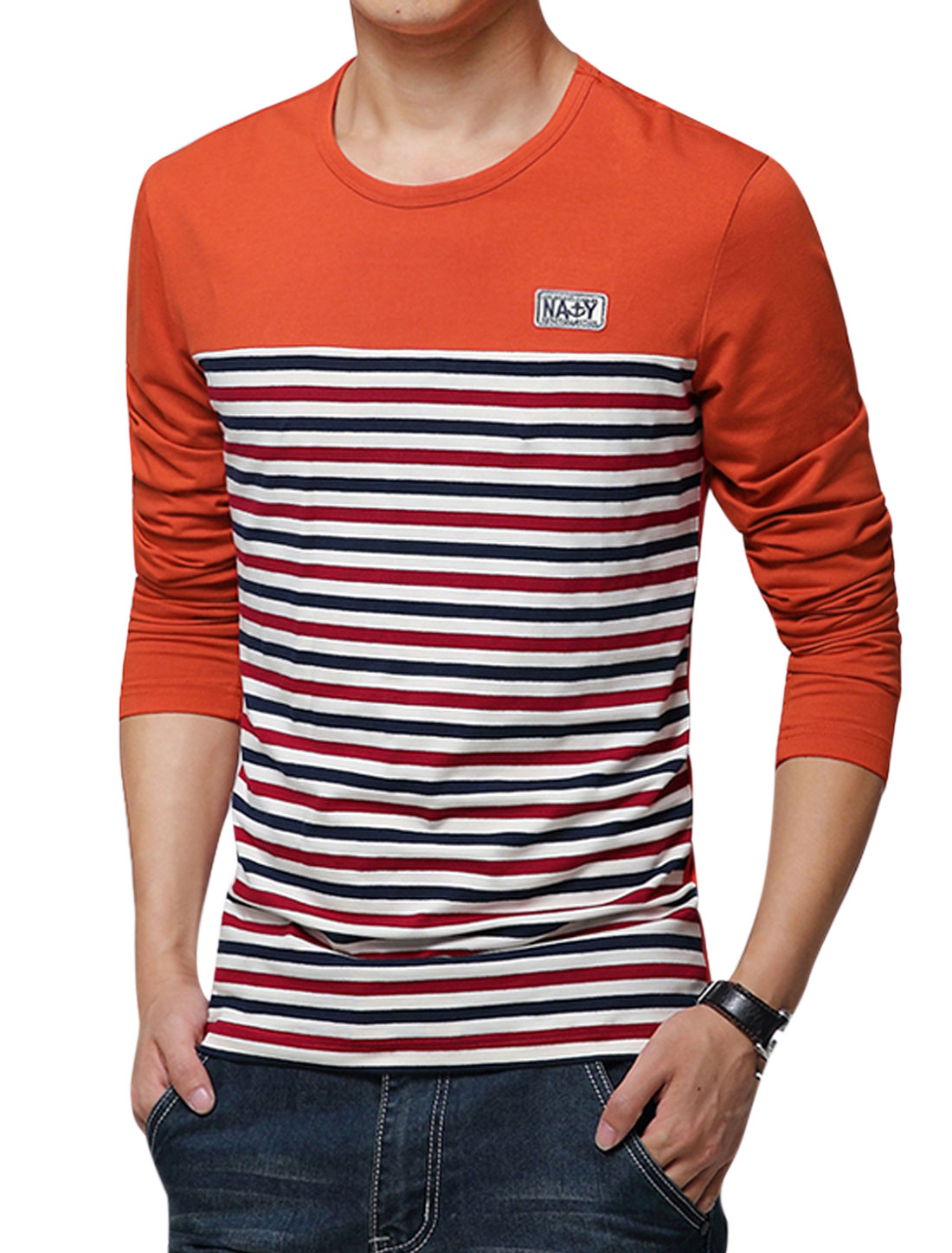 Men Round Neck Stripes Print Slim Fit T-Shirts Orange Burgundy M