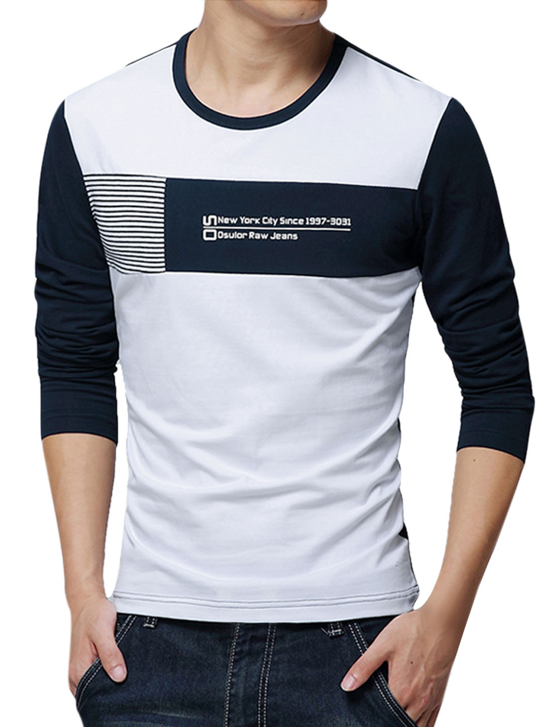 Men Long Sleeve Round Neck Contrast Color Casual T Shirt White Navy Blue M