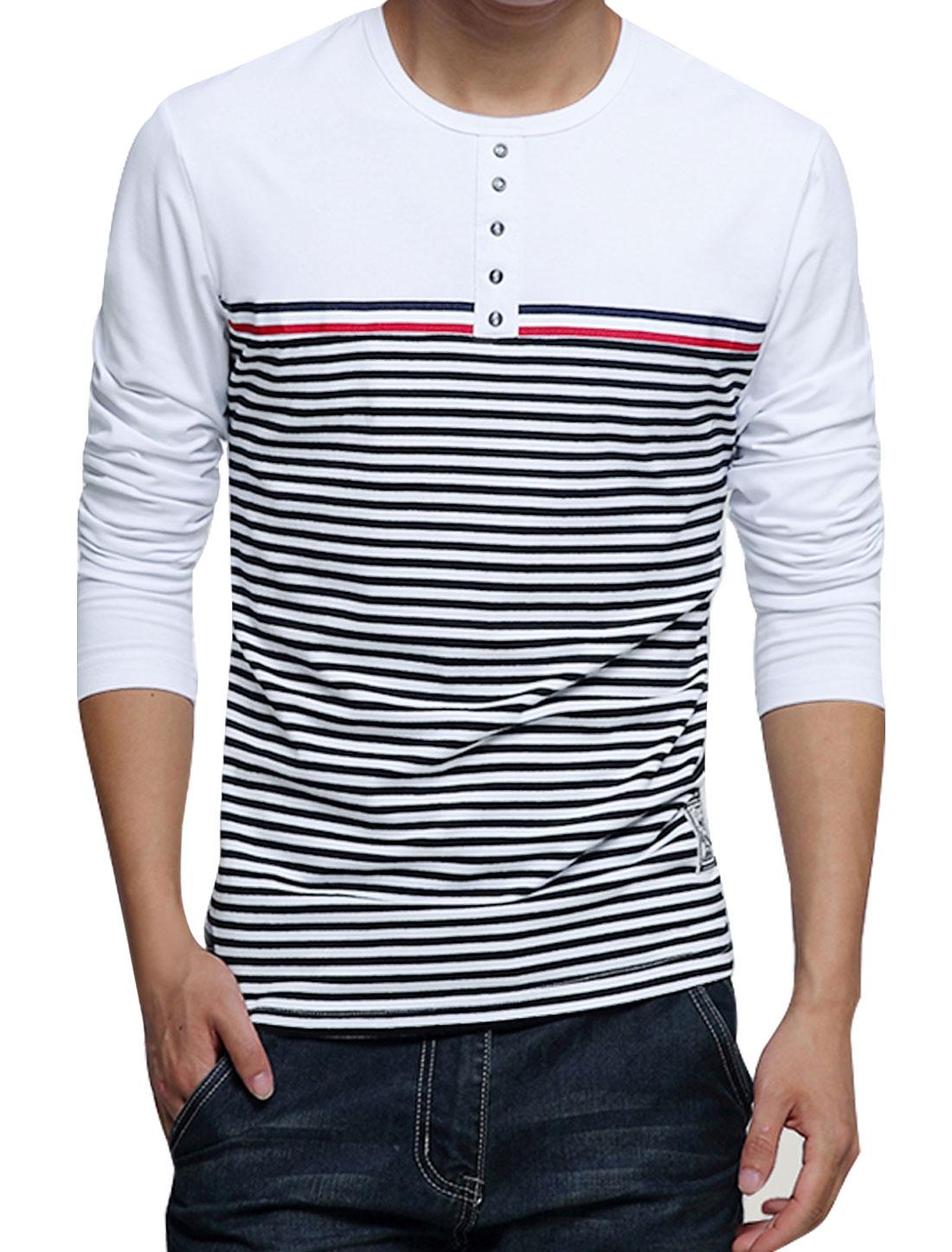 Man Round Neck Long Sleeves Horizontal Stripes T-Shirts White M