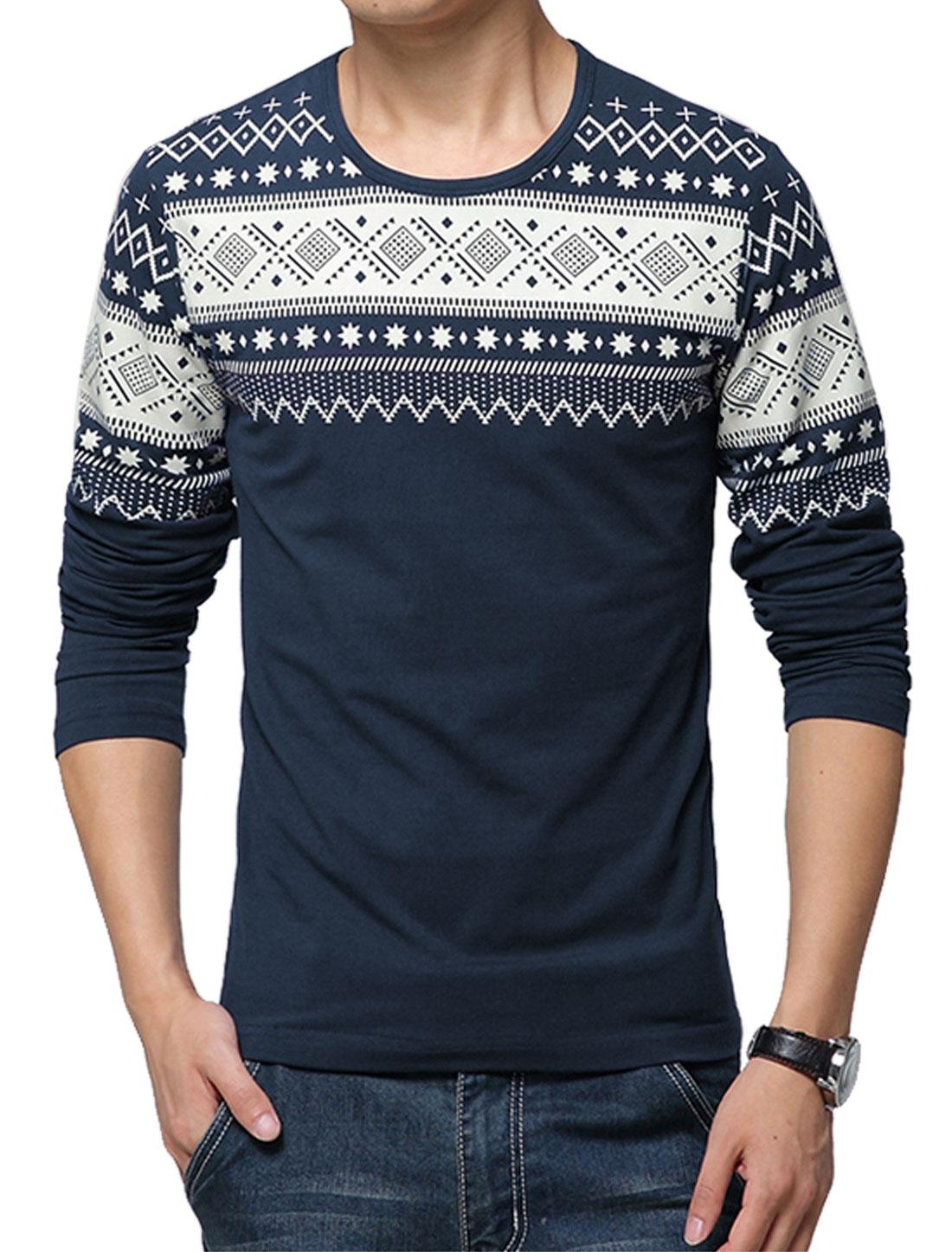 Men Round Neck Long Sleeves Geometric Prints T-Shirts Navy Blue M
