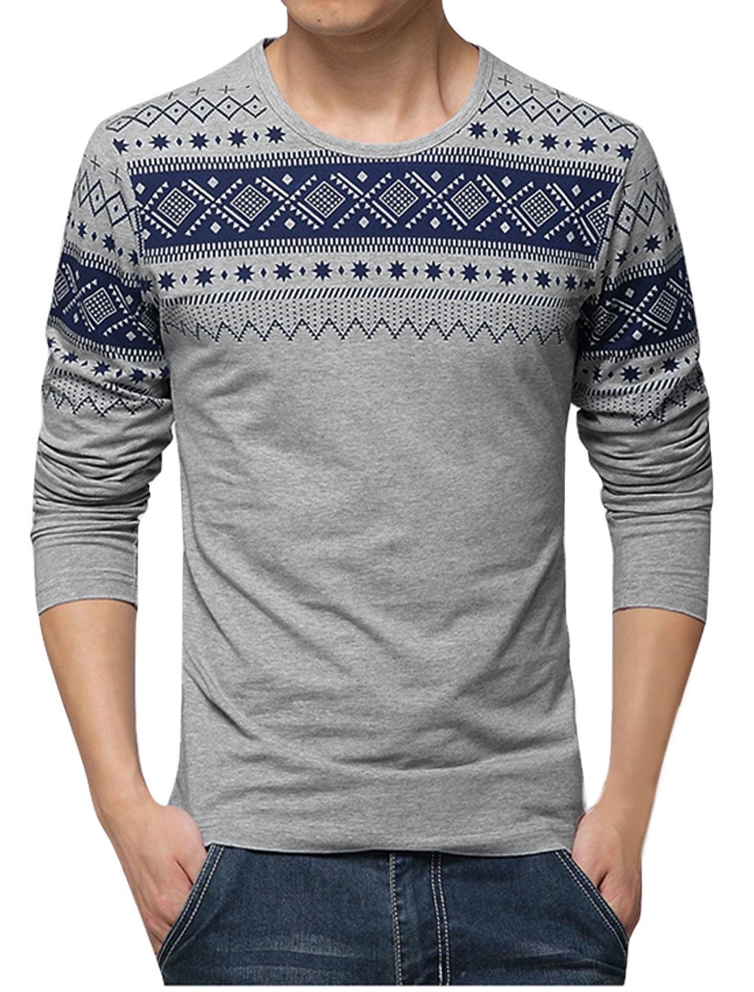 Man Round Neck Long Sleeves Geometric Prints Slipover T-Shirts Gray M