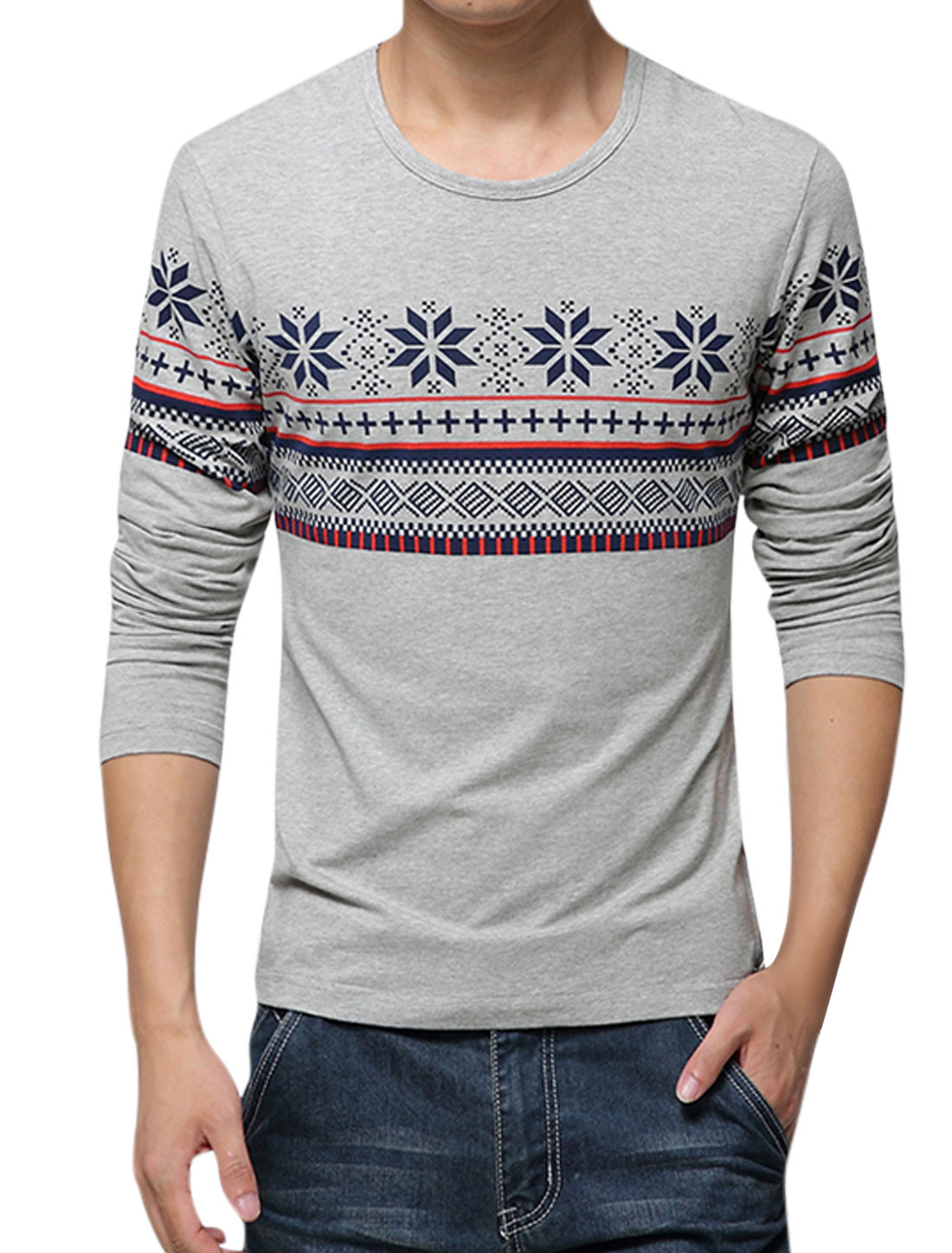 Men Long Sleeves Geometric Prints Slipover Casual Tops Gray M