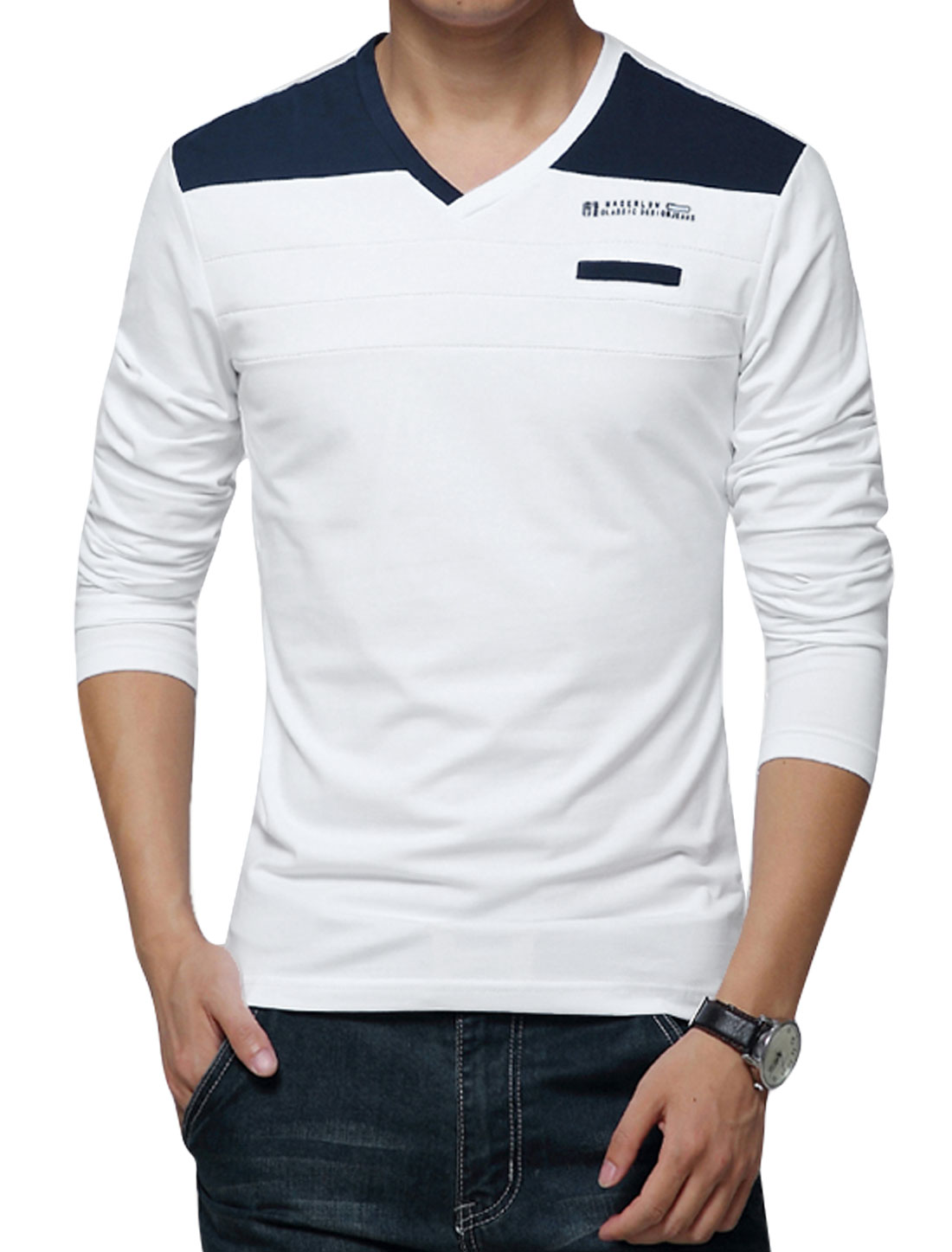 Men V Neck Long Sleeves Contrast Color Casual T-Shirts White M