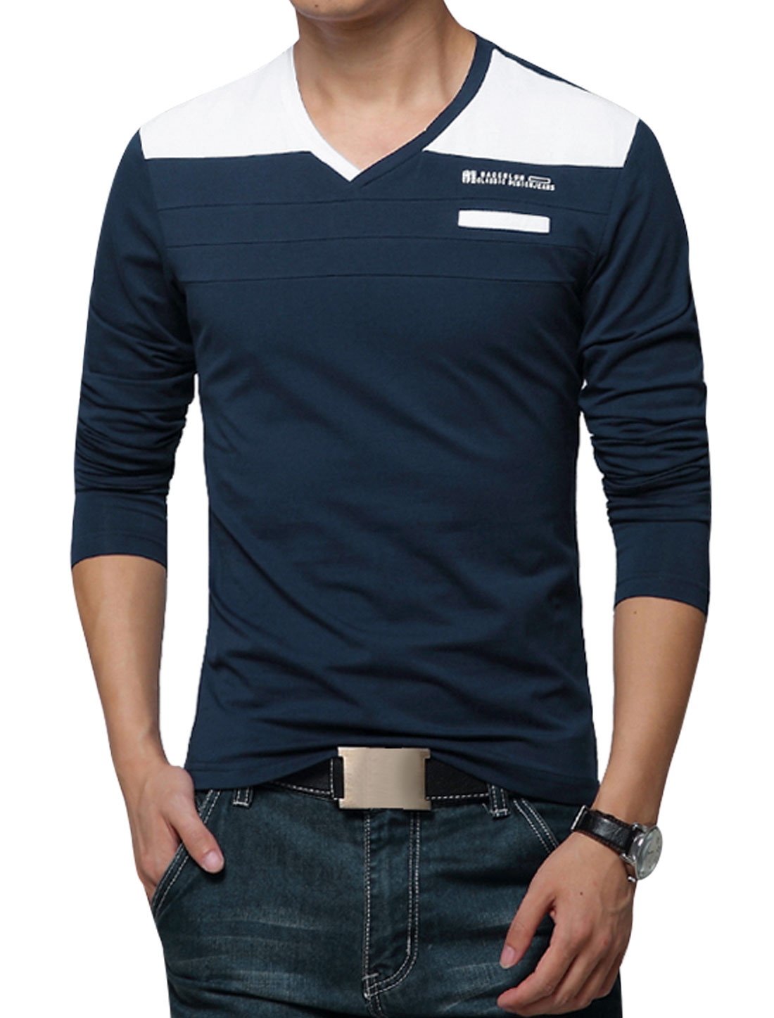 Men V Neckline Long Sleeves Contrast Color T-Shirts Navy Blue M