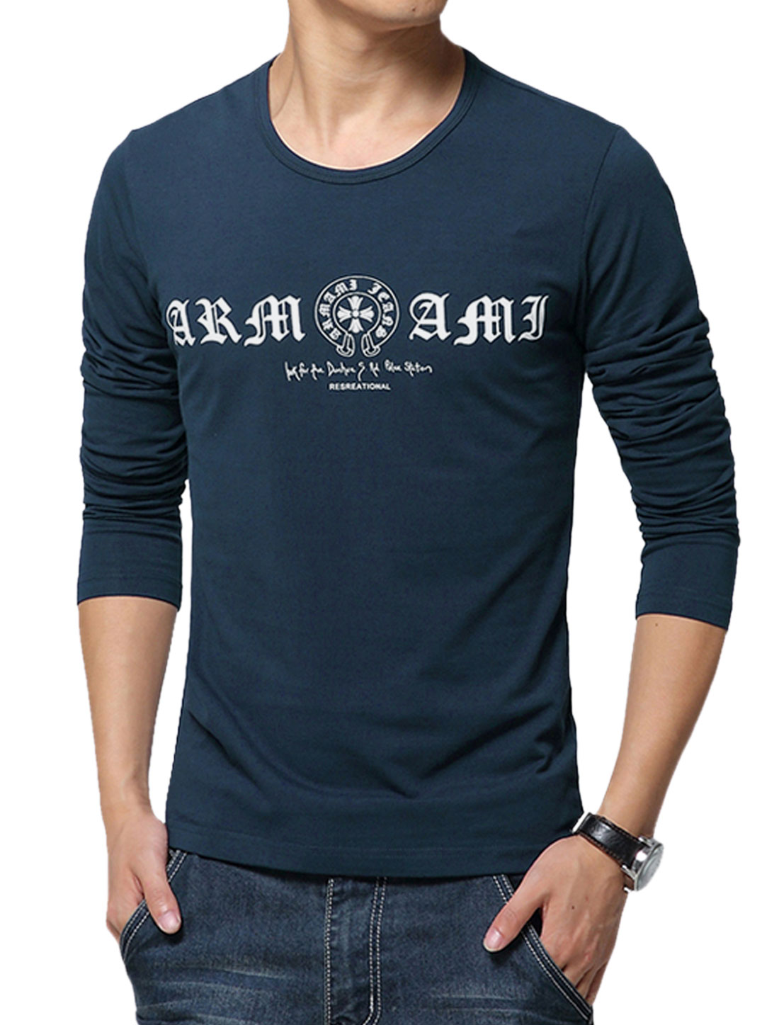Man Letters Prints Round Neck Long Sleeves Slipover Leisure Tee Navy Blue M