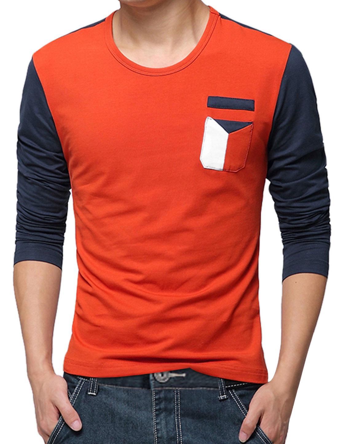 Men Long Sleeves Color Blocking Leisure Basic Top Orange Red M