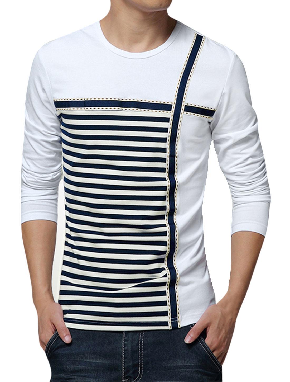 Man Stripes Round Neck Long Sleeves Slipover Casual Panel T-shirt White M