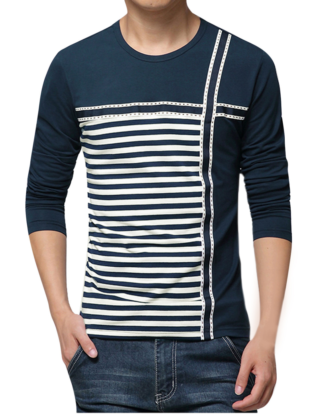 Man Stripes Round Neck Long Sleeves Panel T-shirt Dark Blue M