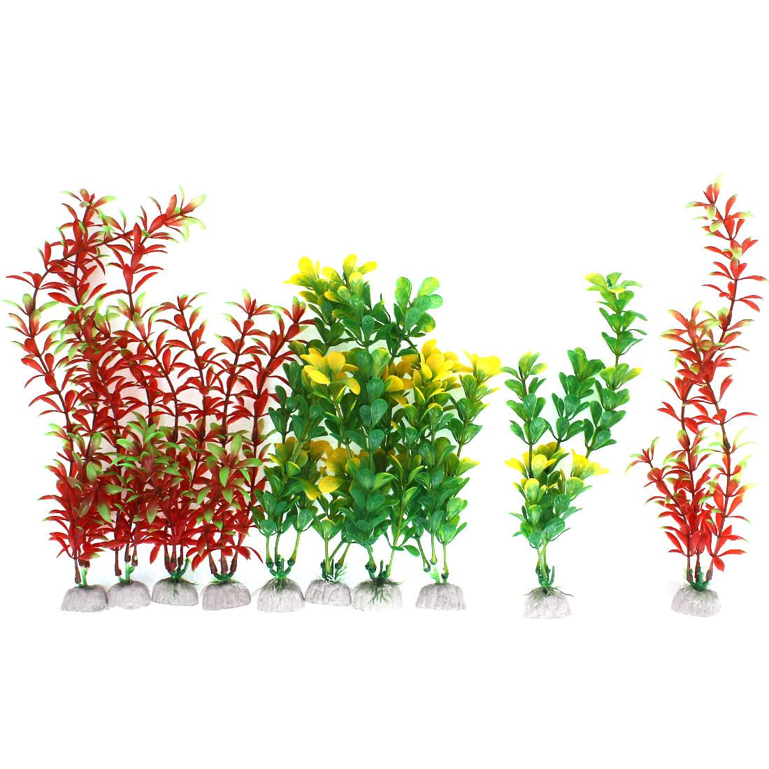 10 in 1 Fish Tank Aquarium Aquascaping Emulational Plastic Water Plant Crimson Yellow Green
