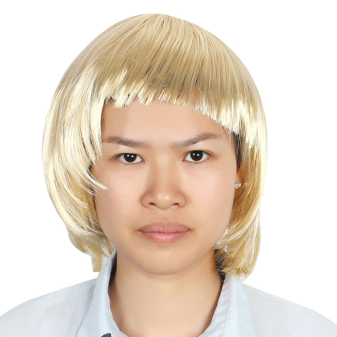 Ladies Woman Short Cut Straight Hairpiece Flat Bangs Hair Play Costume Full Wig Party Khaki