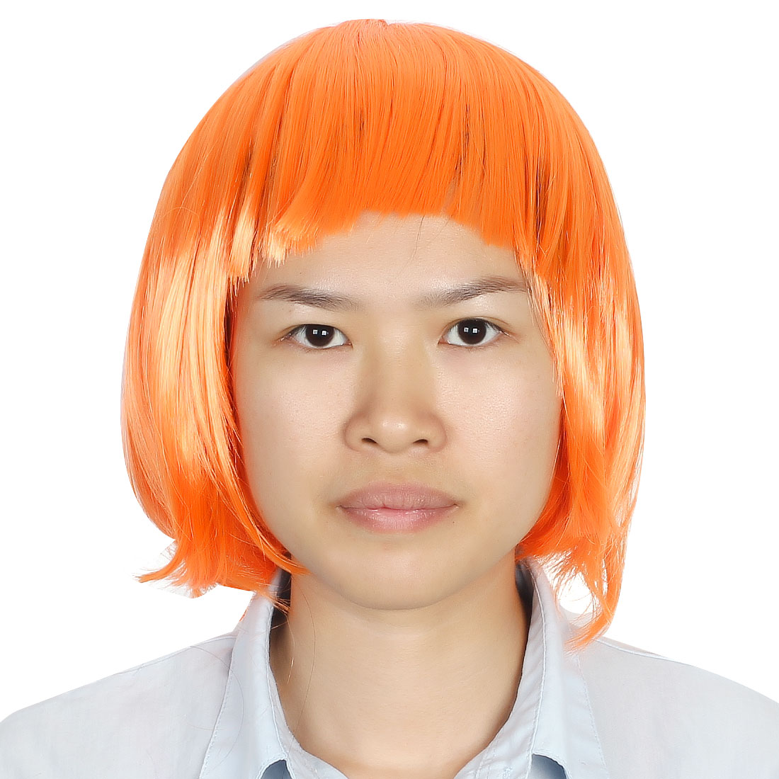 Ladies Woman Short Cut Straight Hairpiece Flat Bangs Hair Play Costume Full Wig Party Orange