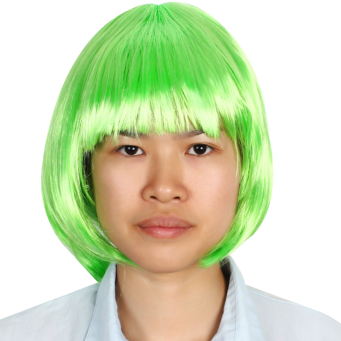 Ladies Woman Short Cut Straight Hairpiece Flat Bangs Hair Play Costume Full Wig Party Light Green