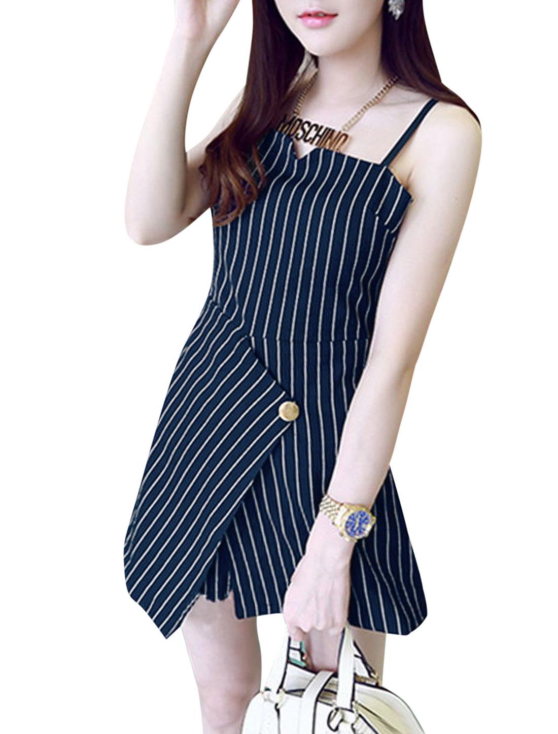 Ladies Stripes Asymmetric Hem Tunic Top w Elastic Waist Shorts Set Navy Blue XS