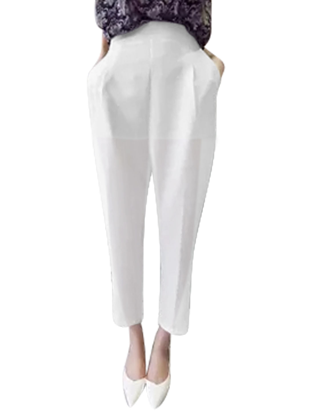 Ladies High Rise Zip Closed Slant Pockets Casual Trousers White M